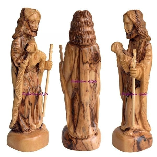 Hand crafted Olive Wood Small Good Shepherd statue, from Bethlehem