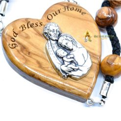 Olive Wood Large Beads Cord Rosary from Jerusalem