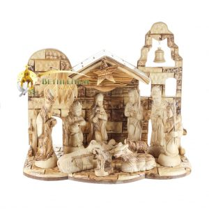 Hand crafted nativity set from Bethlehem. Wooden nativity from the Holy land
