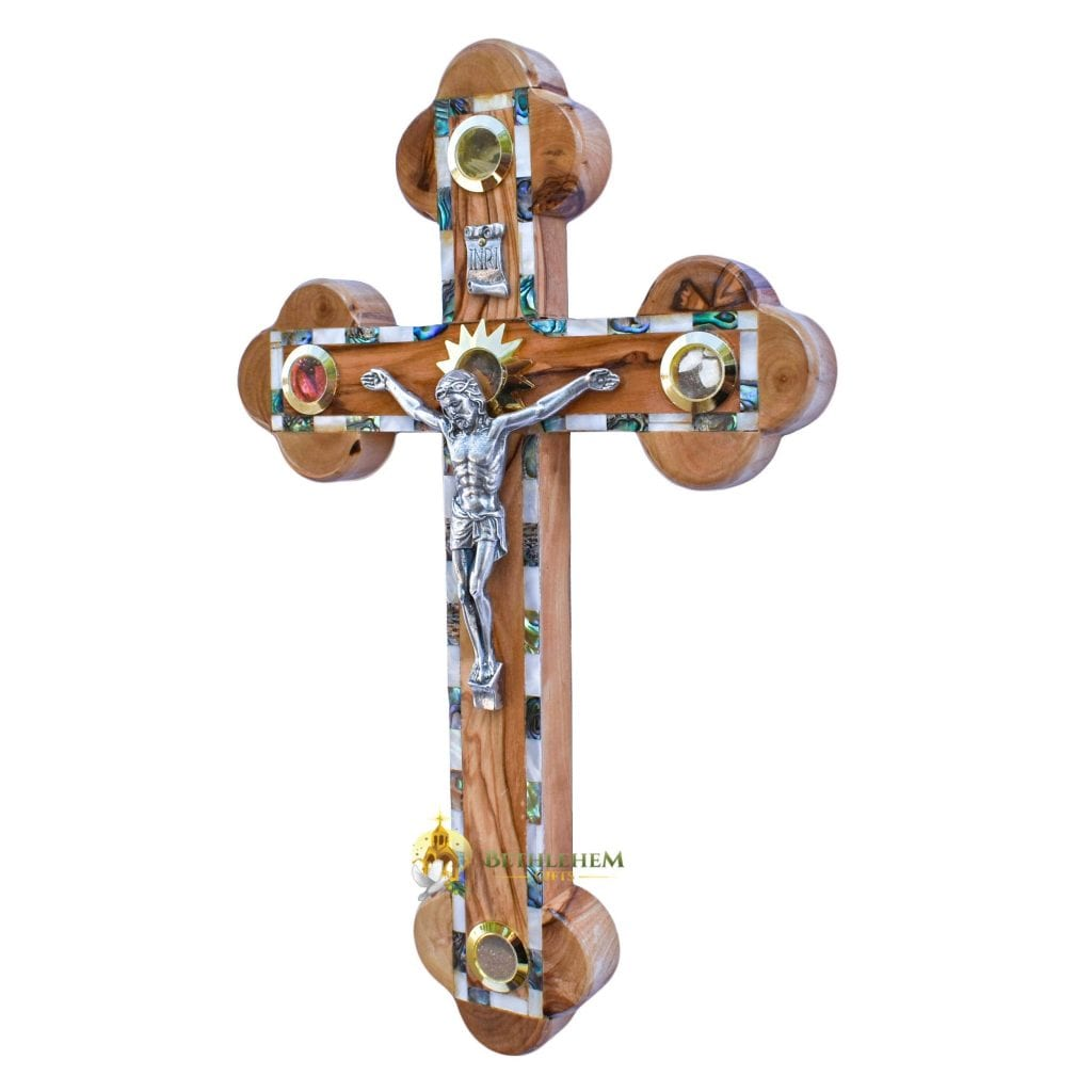 Olive Wood Abalone Large Budded Crucifix with Five Holy Samples from Bethlehem