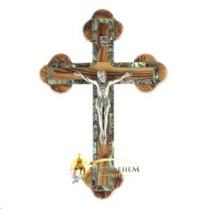Olive Wood Abalone Small Budded Crucifix from Bethlehem