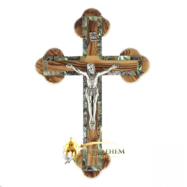 Olive Wood Abalone Small Budded Crucifix