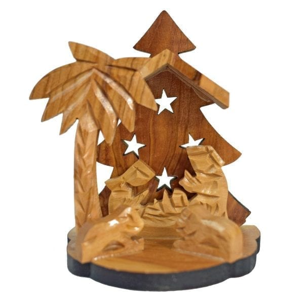Hand crafted olive wood nativity scene from Bethlehem