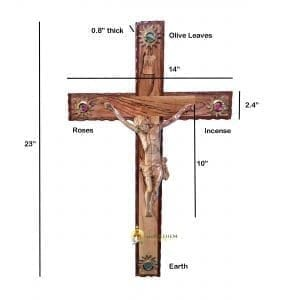 Latin Olive Wood Mahogany Crucifix Wooden Corpus, hand crafted in Bethlehem