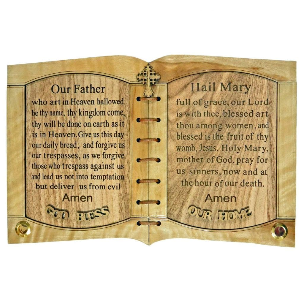 Olive Wood The Lord's Prayer and Hail Mary Prayer with Holy Samples from Bethlehem