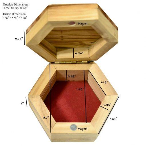 Olive Wood Rosary Box Hexagon Size