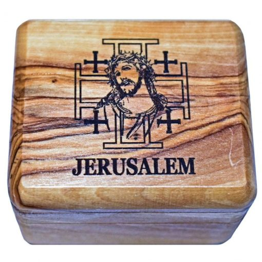Olive Wood Rosary Box with Holy Face of Jesus and Jerusalem Cross from Jerusalem