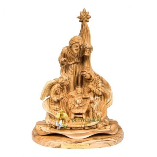 Olive Wood Holy Family with Angel from Bethlehem