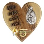 Olive Wood God Bless Our Home Heart-Holy Family