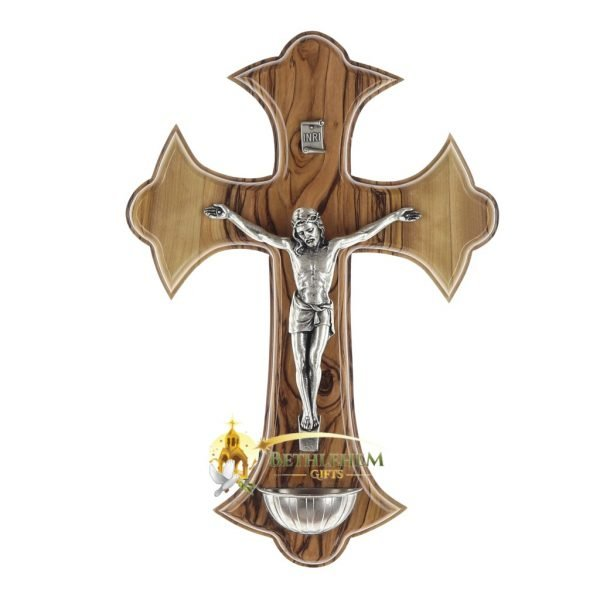 Holy Water Font Olive Wood Crucifix Large from Bethlehem