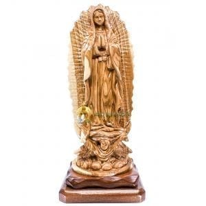 Large Olive Wood Our Lady of the Guadalupe from Bethlehem