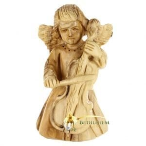 Olive Wood Angel with Cello from Bethlehem