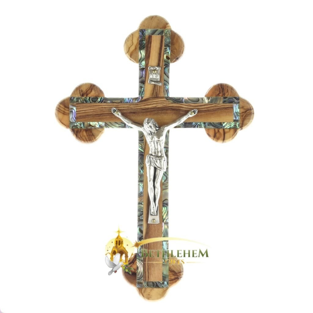 Olive Wood Abalone Budded Crucifix from Bethlehem
