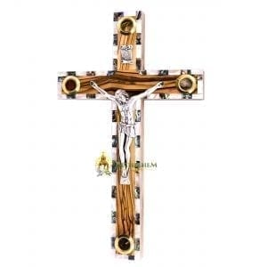 Olive Wood Abalone Large Latin Crucifix with Five Holy Samples