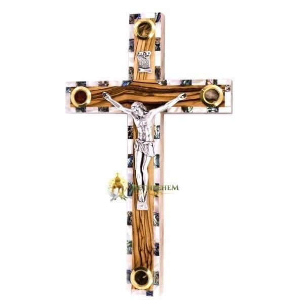 Olive Wood Abalone Large Latin Crucifix with Five Holy Samples from Bethlehem