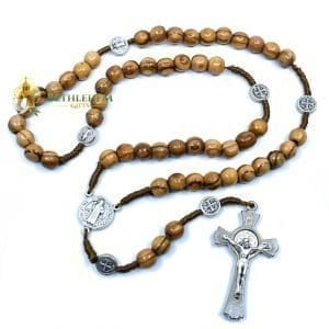 Olive Wood Saint Benedict Cord Rosary from Jerusalem