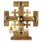 Olive Wood Crusaders Cross on Base with Holy Samples-1