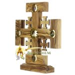 Olive Wood Crusaders Cross on Base with Holy Samples-2