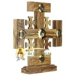 Olive Wood Crusaders Cross on Base with Holy Samples-4