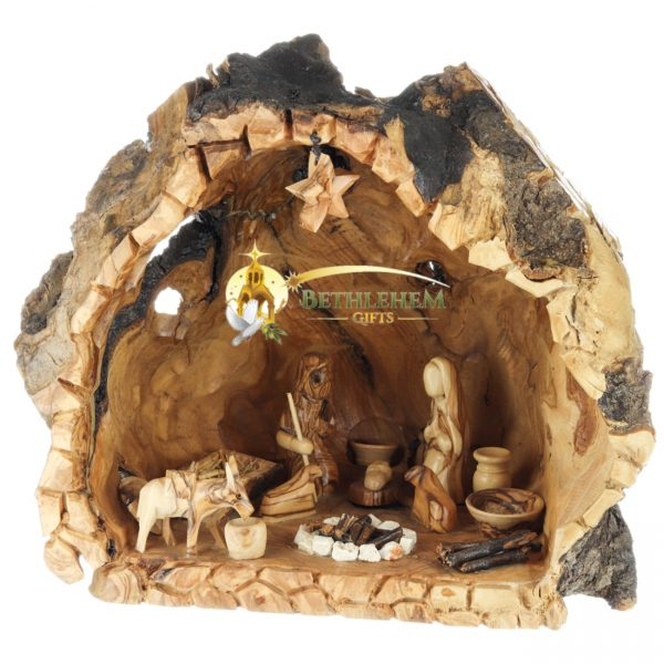 Olive Wood Nativity Cave-06