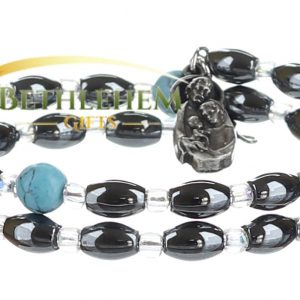Hematite Oval Beads Bracelet, with Three Holy Icons and Blue Stone Beads Seperators from Bethlehem