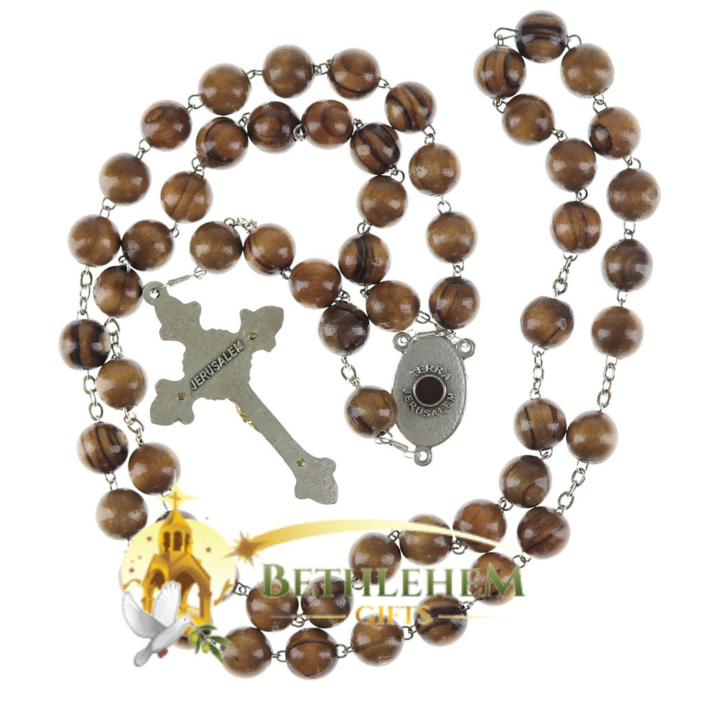 Olive Wood Chain Rosary-24-back