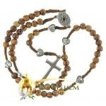 Olive Wood Cord Rosary-27-back