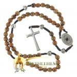 Olive Wood Cord Rosary-28-back