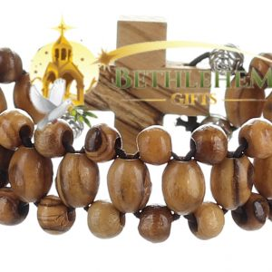 Olive Wood Three Layers Beads, Elastic Bracelet from Bethlehem