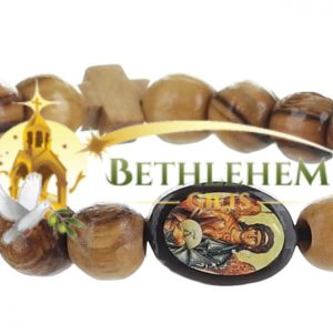 Olive Wood Beads Elastic Bracelet from Bethlehem