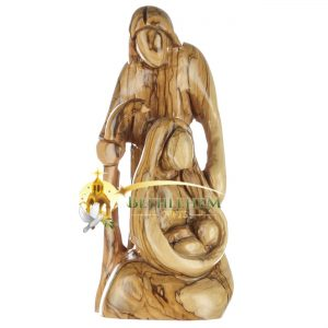 Olive Wood Holy Family with Staff from Bethlehem