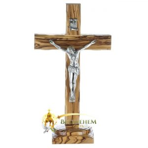 Latin Olive Wood Medium Crucifix on Base from Bethlehem