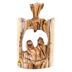 Olive Wood Small Holy Family with Star from Bethlehem