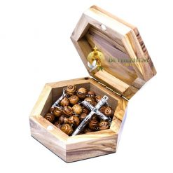Confirmation Gift Wooden Box with Rosary from the olive wood of Bethlehem