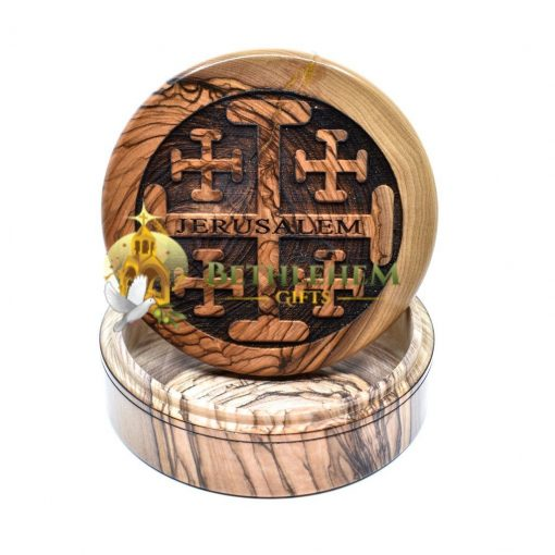 Olive wood Rosary Box with Jerusalem Cross