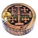 Olive wood Rosary Box with Jerusalem Cross