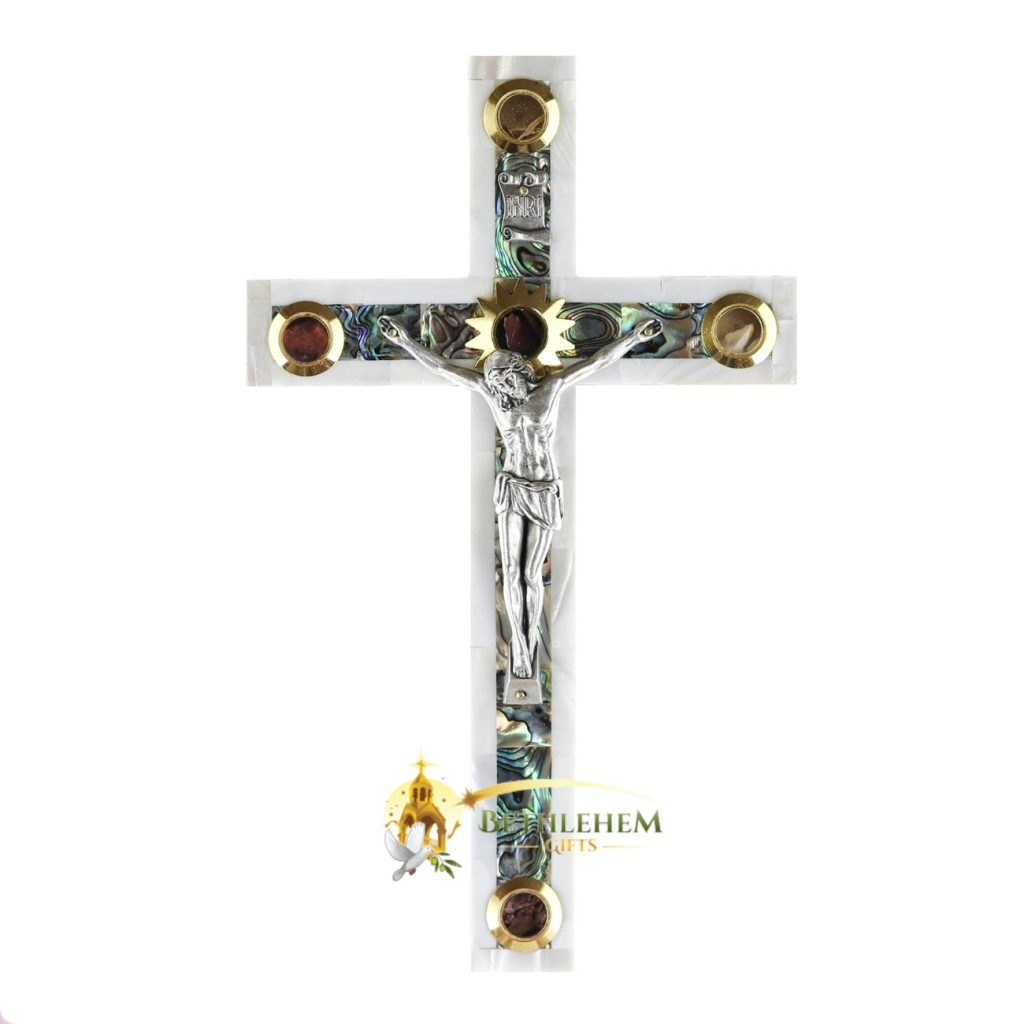 Mother of Pearl Large Latin Crucifix with Five Holy Samples