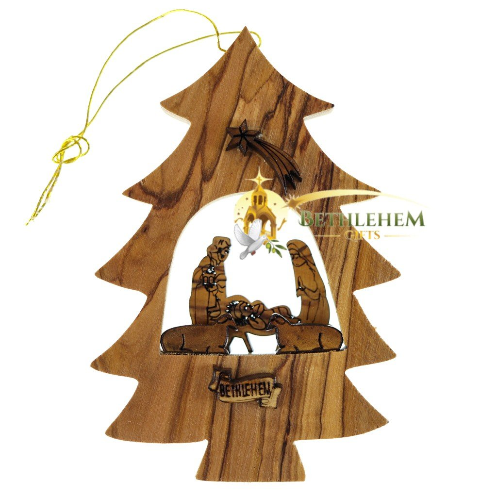 Olive Wood Tree Ornament