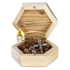 Wooden Rosary Box with Star of Bethlehem
