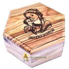Large Hexagon Rosary Box with Blessed Mother and Child-279
